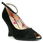 Luichiny Velvet Peep Toe Wedge