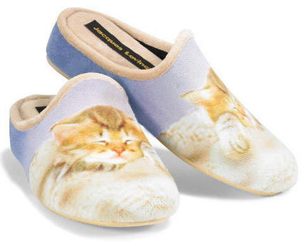 Women's Snuggly Soft Slipper with Puppy or Kitten Design