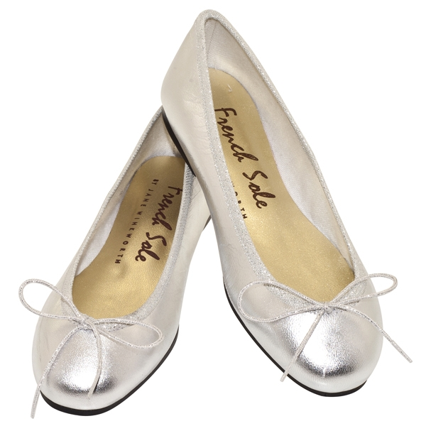French Sole Harriet Silver Ballet Flats