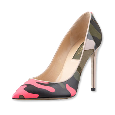 funky hot pink and camo Valentino pumps
