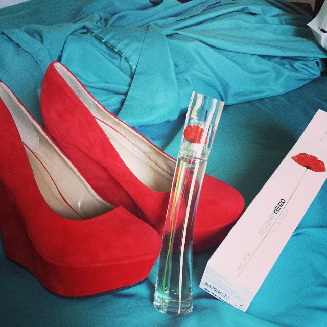 Red Suede Wedge Platform Pumps $30