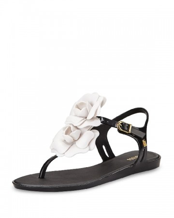 Melissa Shoes Solar Garden Thong Sandal, Black/White