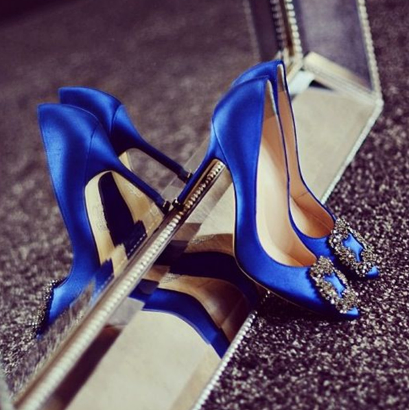 High Quality Gorgeous Satin White Royal Blue Wedding Shoes Bride Crystal Buckle Pointy Toe High Heels Shoes Brand Woman Pumps