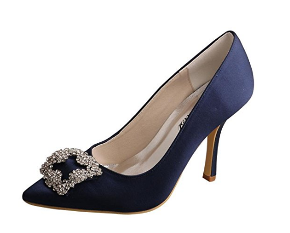 Wedopus MW353 Women's Navy Satin Pointy Toe Thin Heel Rhinestone Wedding Party Pumps