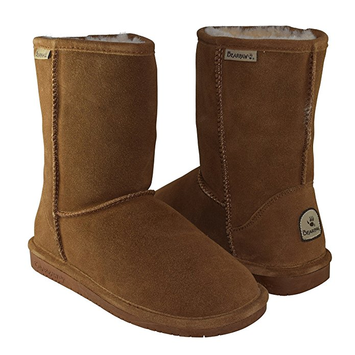 BEARPAW Women's Emma Short Shearling Boots 608-W Hickory (Chestnut)