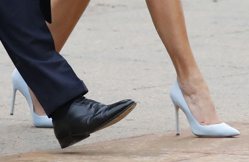 Melania's Trump's light blue suede pumps.