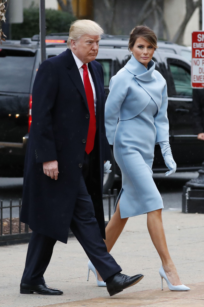 Melania Trump Inauguration Day Light Blue Pumps