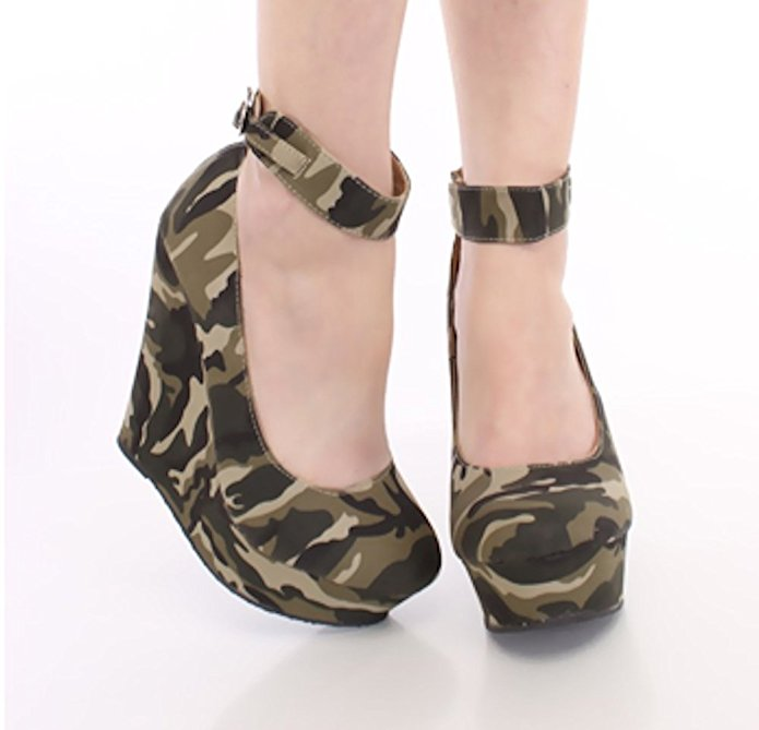 La Bella Fashion Women's Camouflage Strappy Buckle Platform Ankle Wrap Wedges