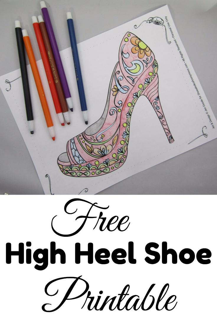 Free Printable High Heel Shoe Coloring Page