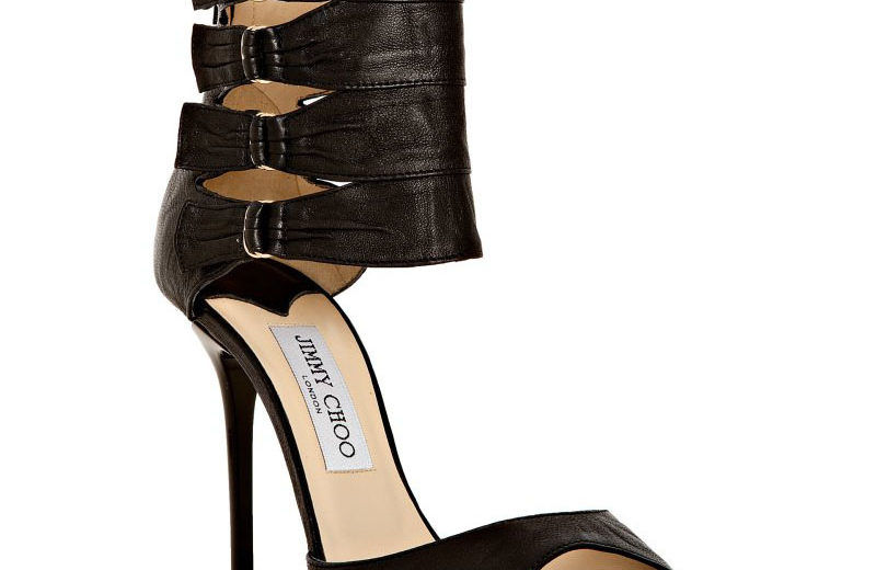 Jimmy Choo black sandals with ankle buckles