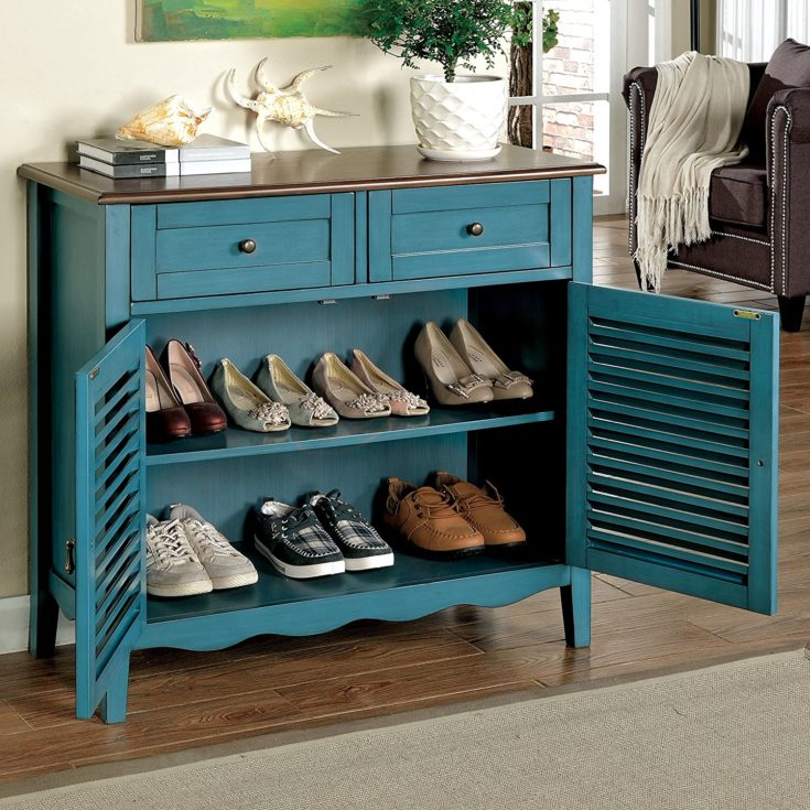 Hokku Designs 2-Tone Country Cherrywood with Louvered Front Doors Shoe Storage Cabinet in Blue
