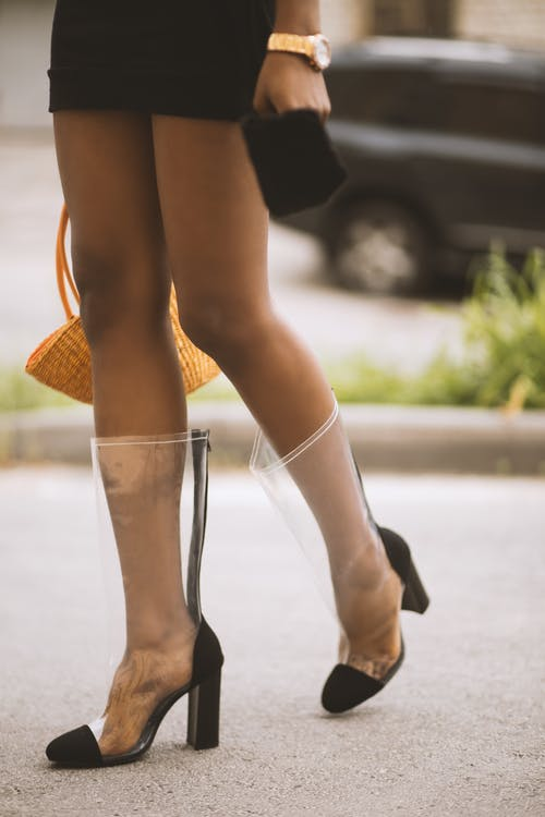 Clear boots with black captoe and black heels