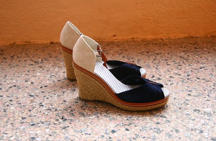 red white and blue wedge espadrille peeptoe sandals