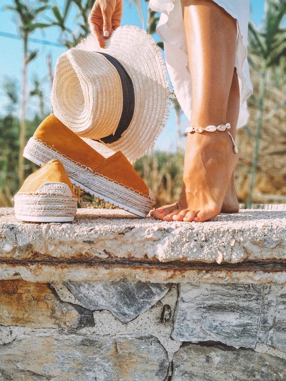 Tannish-Orange Platform Espadrilles