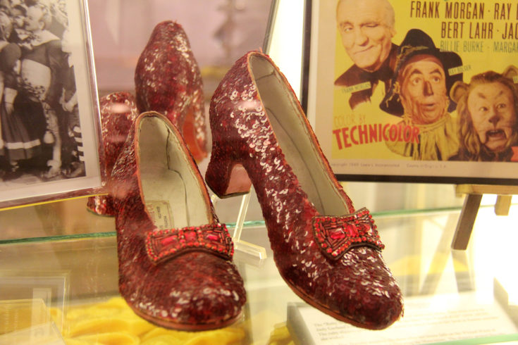 """Ruby Slippers from """"The Wizard of Oz"""" at the Celebration of Entertainment Awards Exhibit Opening, The Hollywood Museum, Hollywood, CA 02-19-14"""