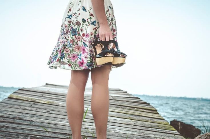 floral dress with summer sandals